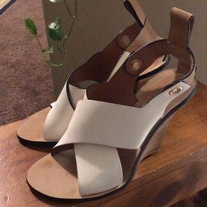Chloe Crisscross Cantilever Runway wedge heels